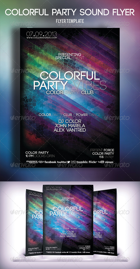 Colorful Party Sound Flyer - Clubs & Parties Events