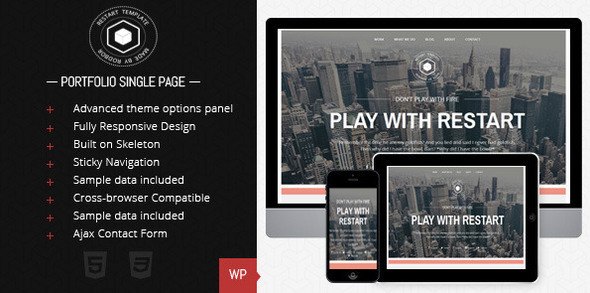 Restart - Responsive Single Page Theme - Portfolio Creative