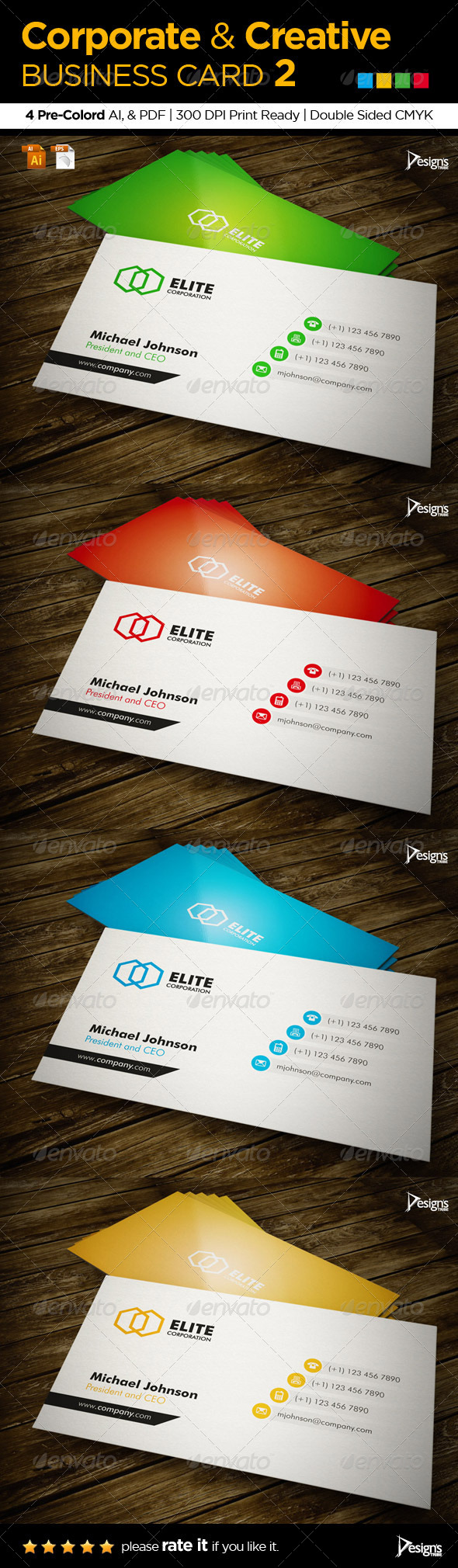 Corporate Creative Business Card 2 - Print Templates