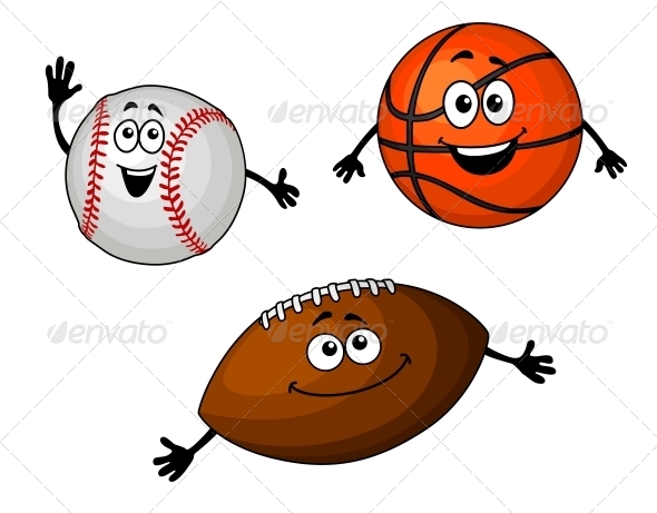 GraphicRiver Baseball Basketball and Rugby Balls 5683063