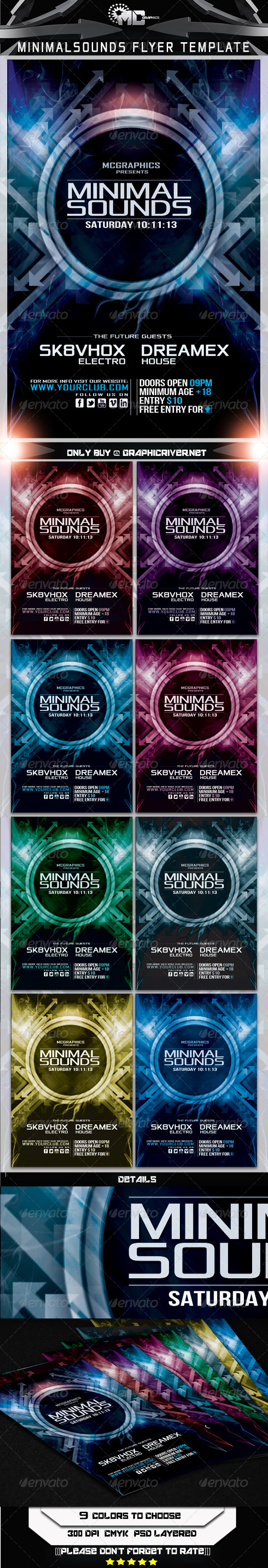 GraphicRiver Minimal Sounds Flyer Template 5683222