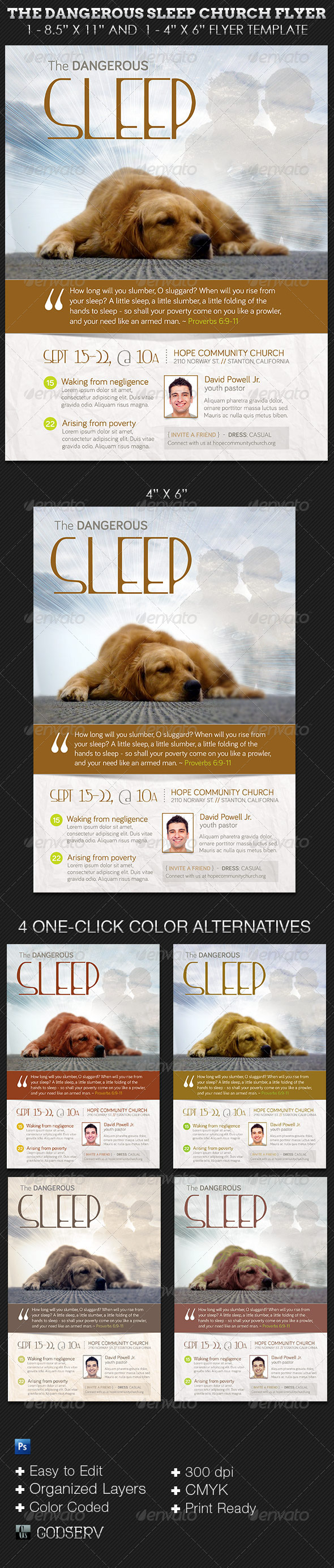 The Dangerous Sleep Church Flyer Template - Church Flyers
