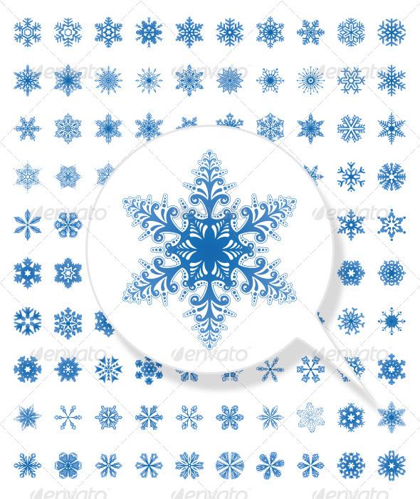 GraphicRiver 100 Snowflake Collection for Christmas 5683964