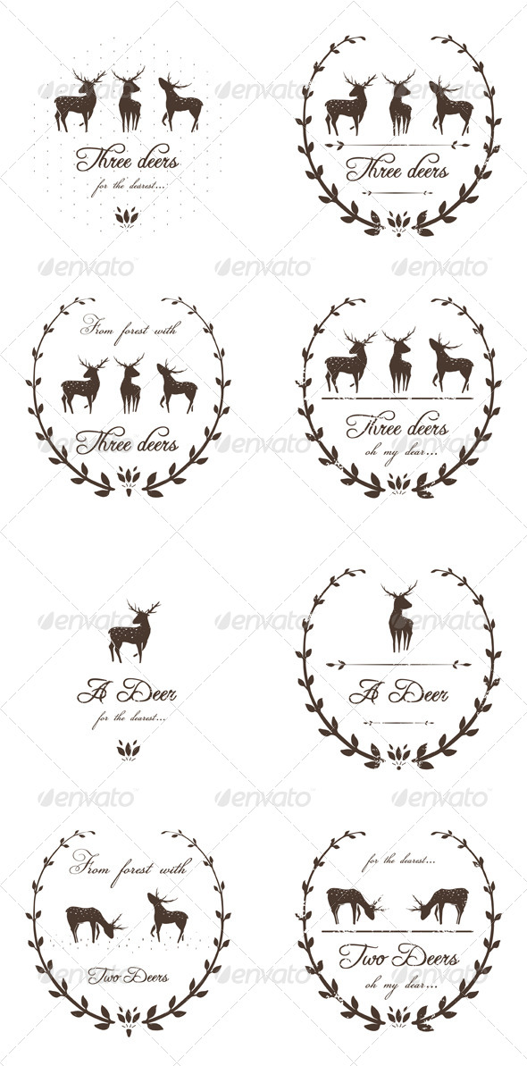 GraphicRiver Vintage Labels Collection with Deers 5684666