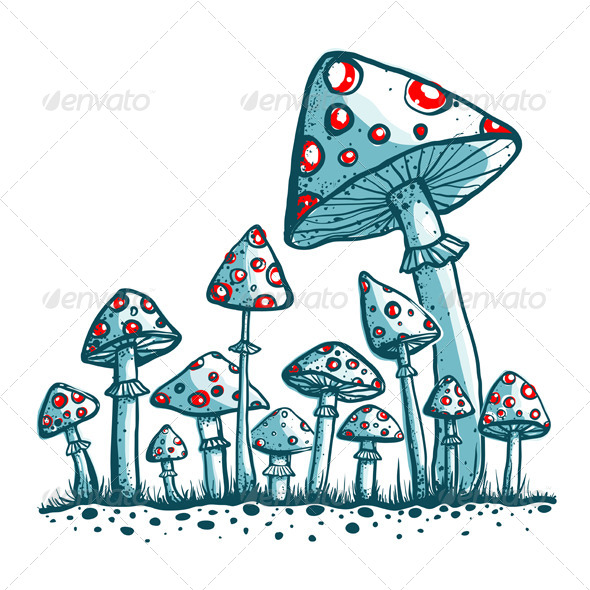 GraphicRiver Spotted Toadstool Mushrooms 5684813