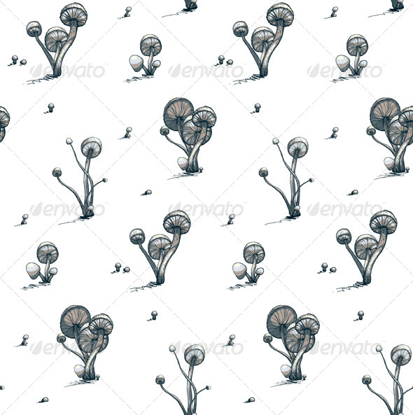 GraphicRiver Poisonous Toadstool Mushrooms Seamless Pattern 5684841
