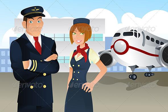 GraphicRiver Pilot and Stewardess 5684888
