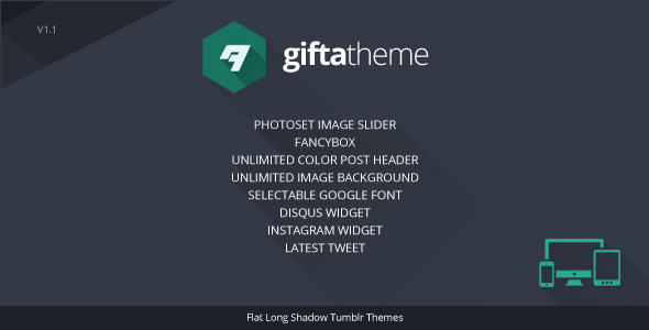 ThemeForest Gifta Flat Long Shadow Tumblr Theme 5675679