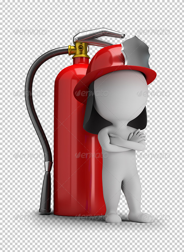 GraphicRiver 3D Small People Fireman and a Large Extinguisher 5685380