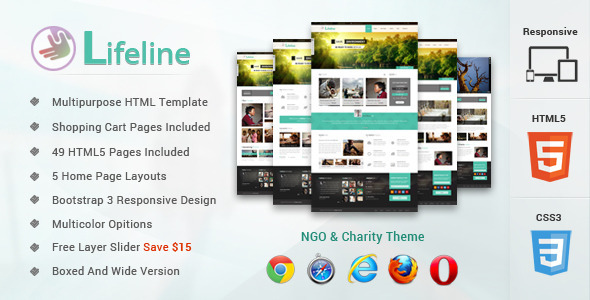 Lifeline NGO and Charity Responsive HTML Template (Nonprofit)