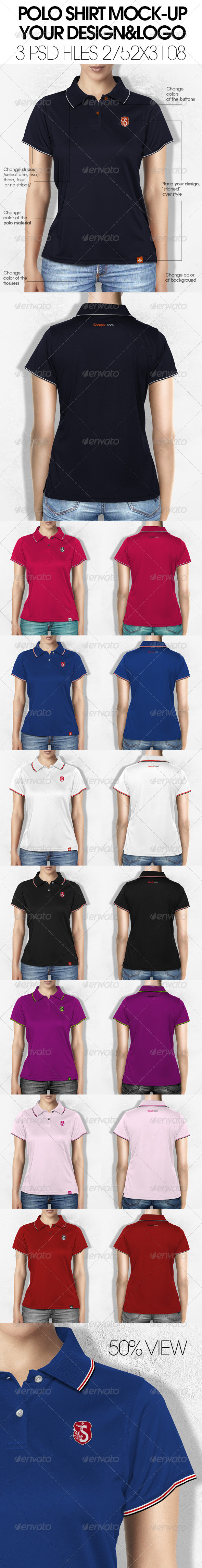 GraphicRiver Woman Polo Shirt Mock-Up 5687569