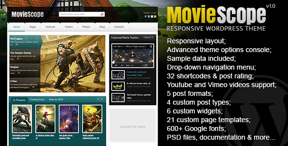 ThemeForest MovieScope Responsive Wordpress Portal Theme 5645176