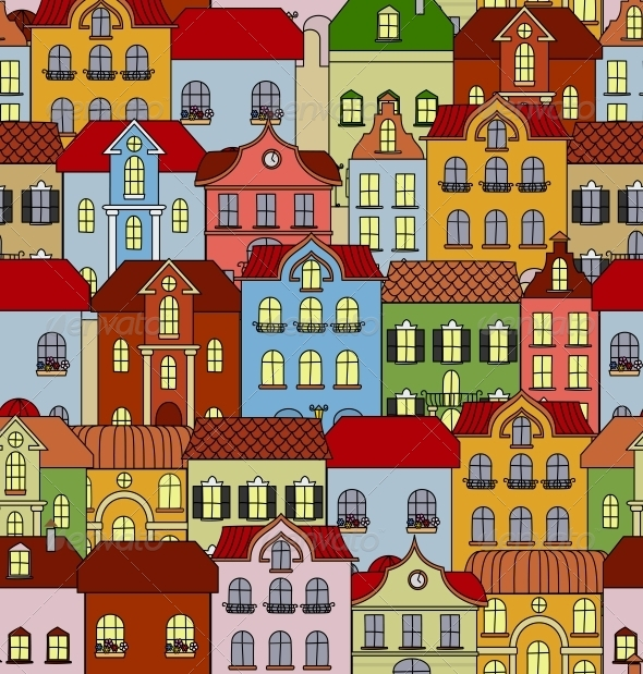 GraphicRiver Seamless Pattern with Retro Buildings and Houses 5690911