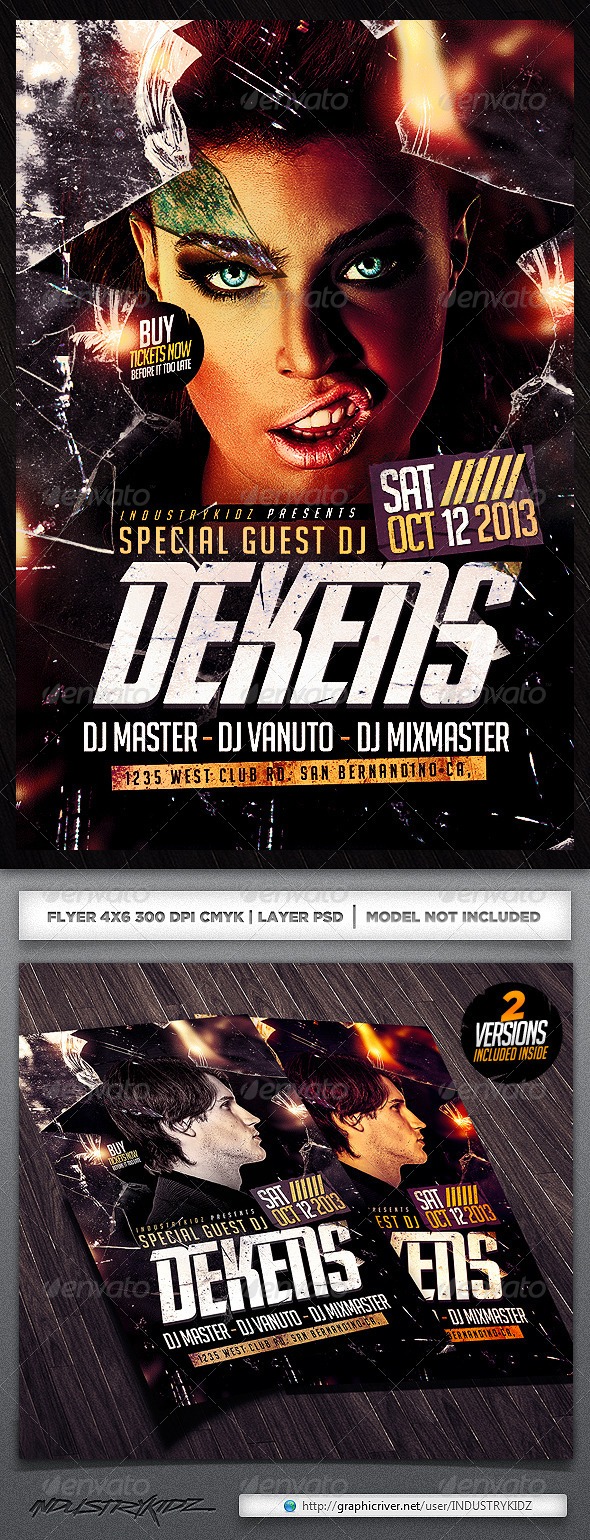 Broken Glass Dj Flyer Template - Clubs & Parties Events