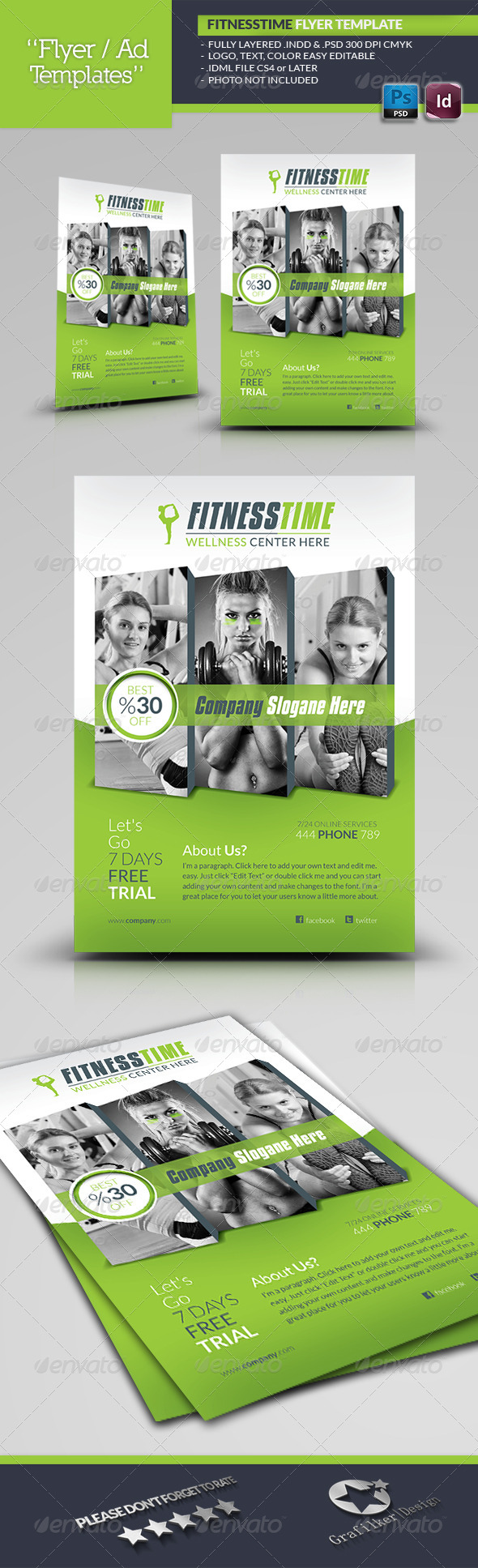 GraphicRiver Fitness Time Flyer Template 5692249