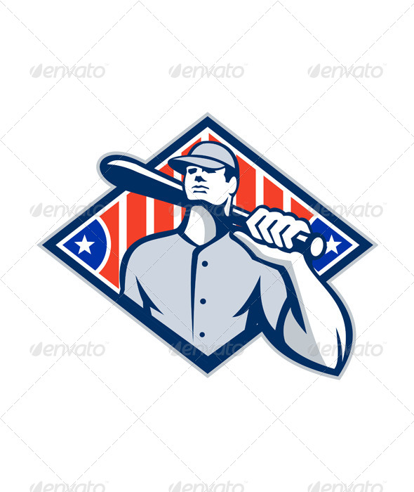 GraphicRiver Baseball Batter Hitter Bat Shoulder Retro 5692275