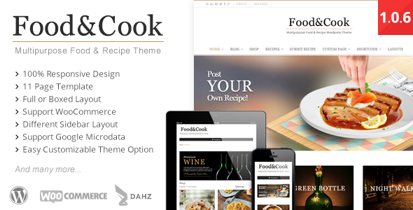 Food & Cook is your Multipurpose Wordpress Theme, sharing recipes and cooking tips can't get any easier than this. With Beautiful and Clean design its