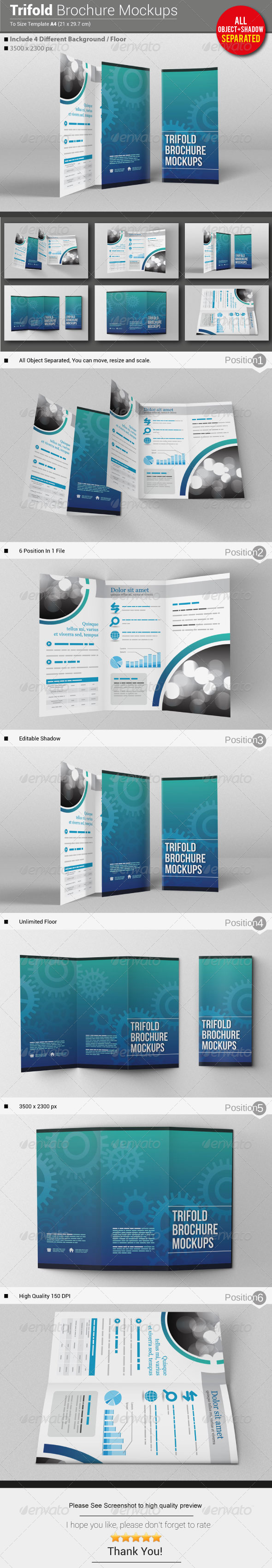 GraphicRiver Trifold Brochure Mockups 5694180