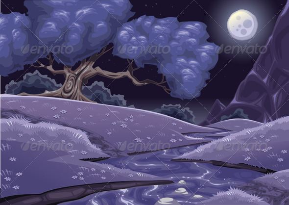Graphic River Cartoon nightly landscape with stream. Vectors -  Conceptual  Nature  Landscapes 585723