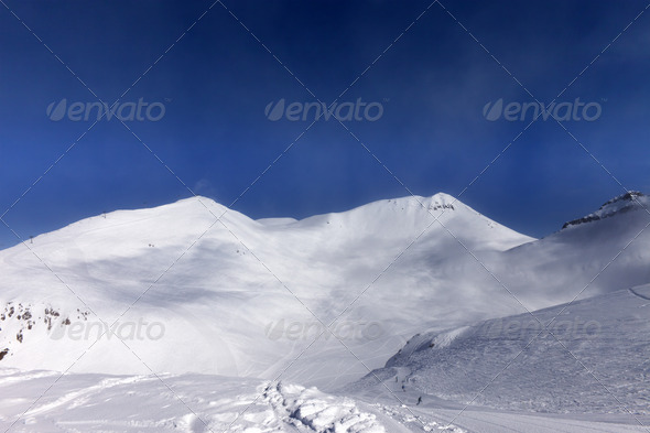 Ski slope in nice day - Stock Photo - Images