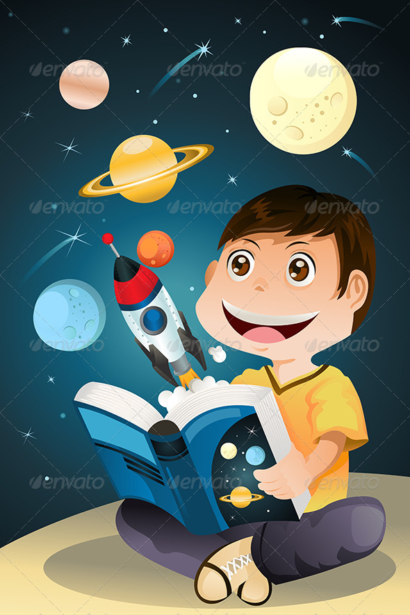GraphicRiver Boy Reading Astronomy Book 5701905