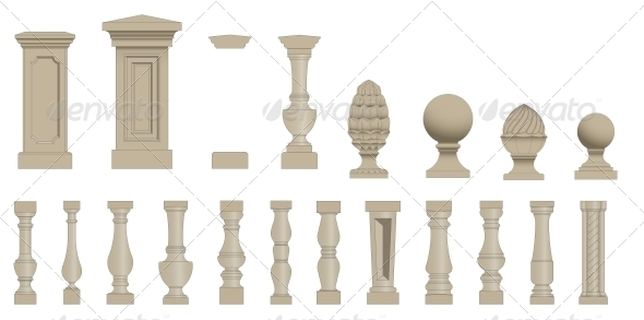 GraphicRiver Set of Silhouettes Balusters 5702768
