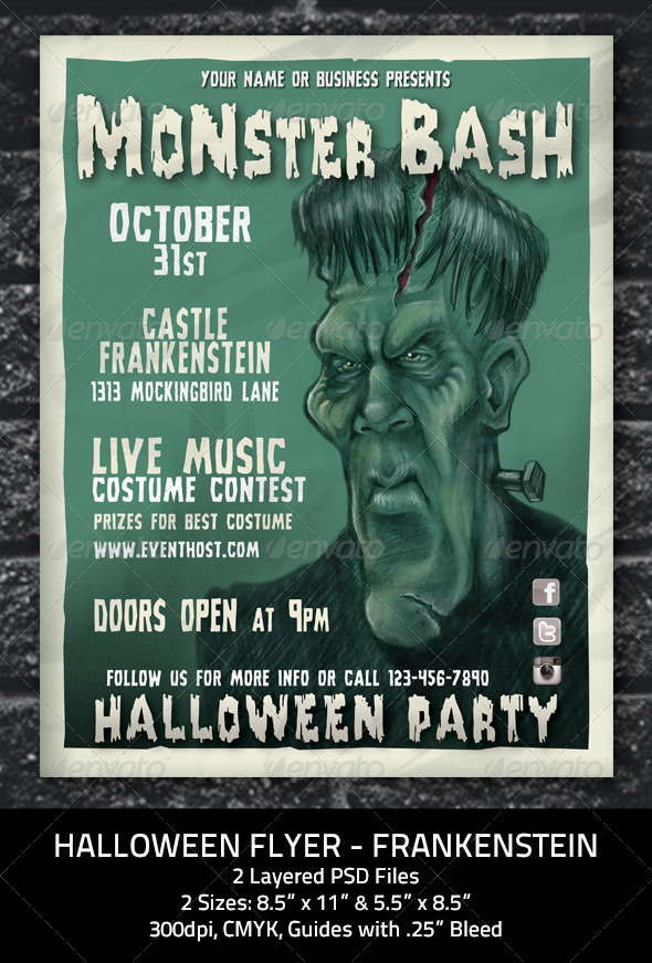 GraphicRiver Halloween Flyer Frankenstein Monster 5633677