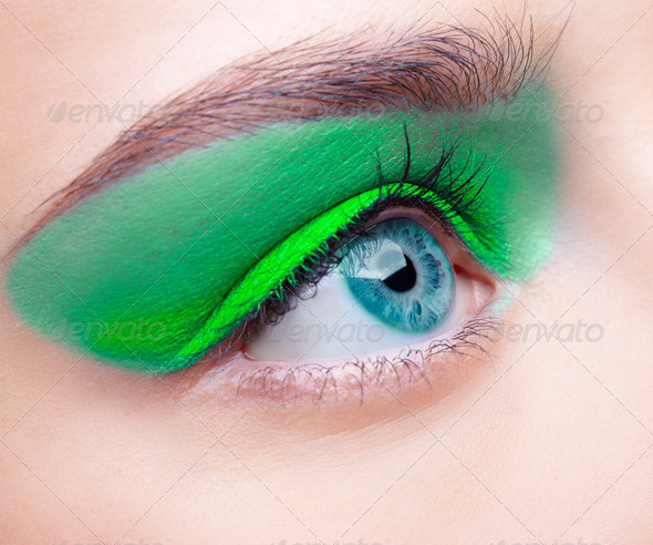 Close-Up Portrait of Beaituful Woman Eyes Zone Make Up Colorful Photos