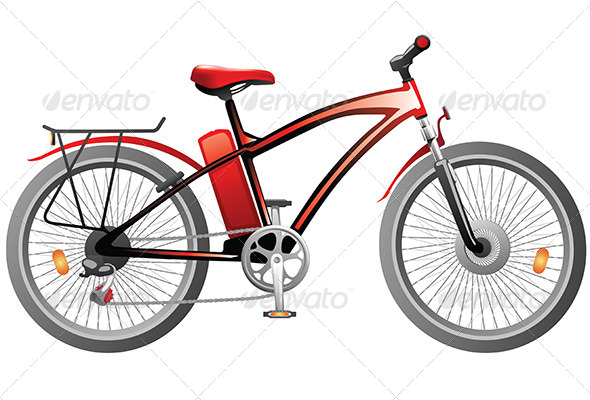 GraphicRiver Red Bicycle with Power Battery 5705958