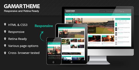 Gammar Responsive Magazine Website HTML5 Template - Corporate Site Templates