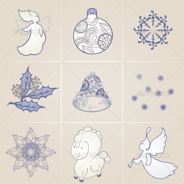 GraphicRiver Set of Elements on a Christmas Theme 5707522