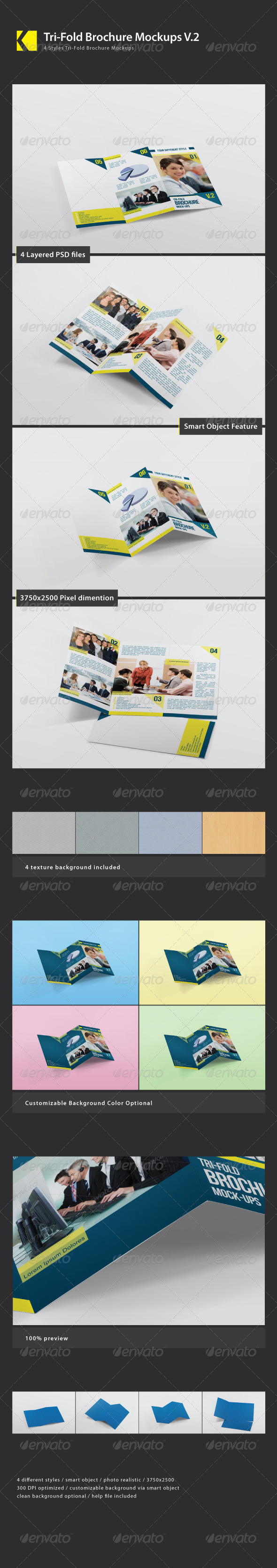 Tri-Fold Brochure Mockups Vol 02 - Product Mock-Ups Graphics