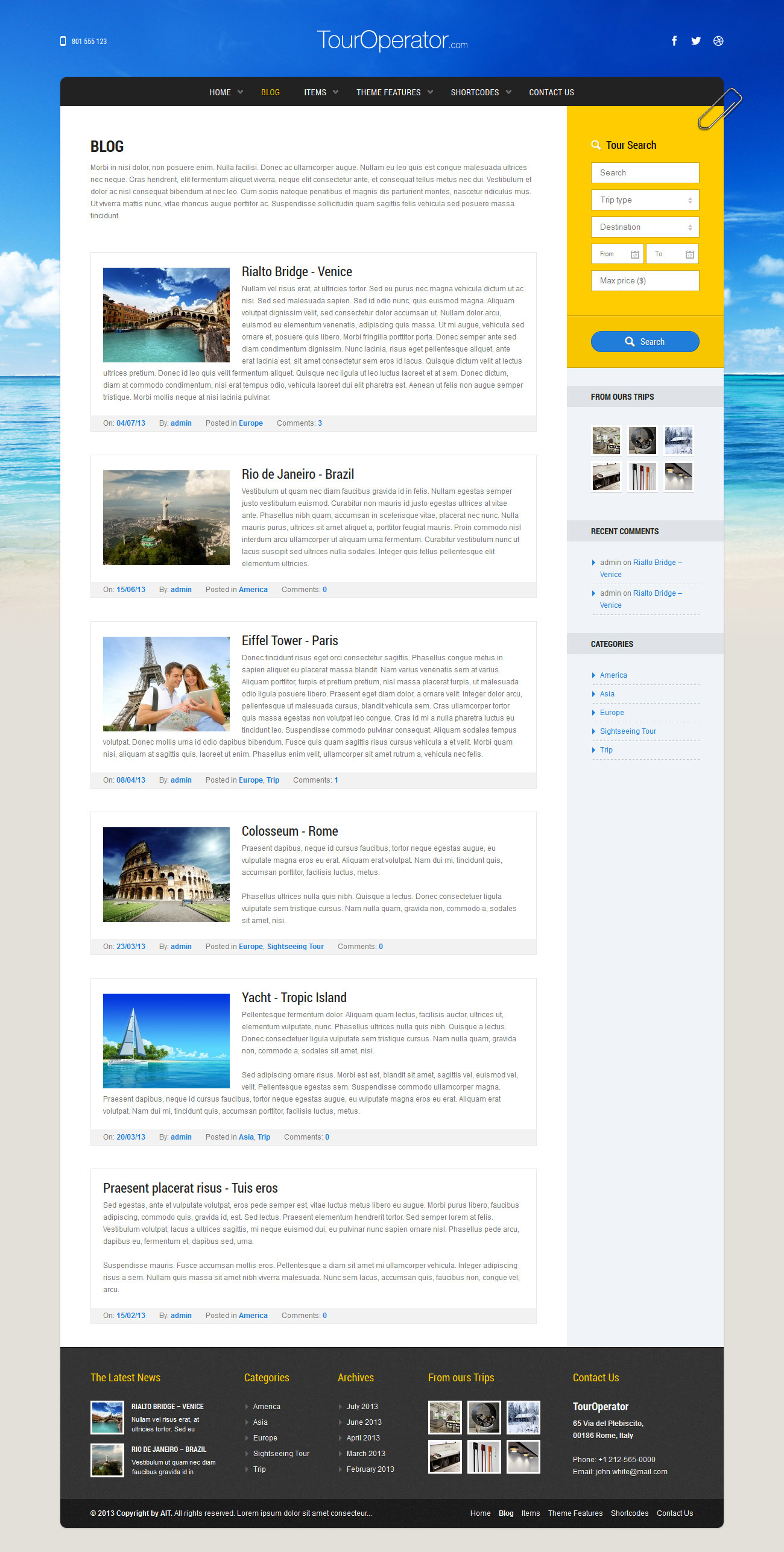 Tour Operator: WP theme with Reservation System