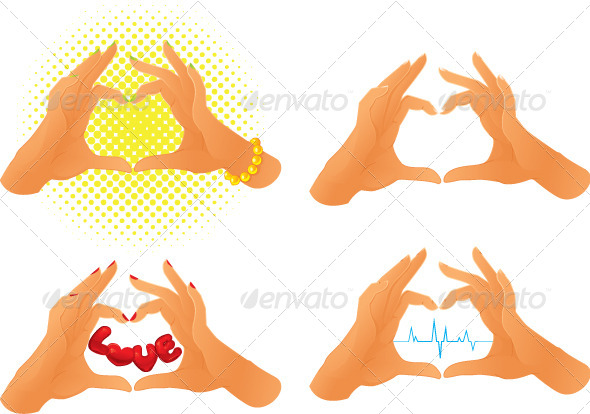 GraphicRiver Collection of Hands Showing Heart Symbol 5712633