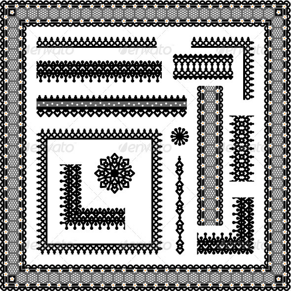 GraphicRiver Lace or Filigree Frames Borders Vignettes 588115