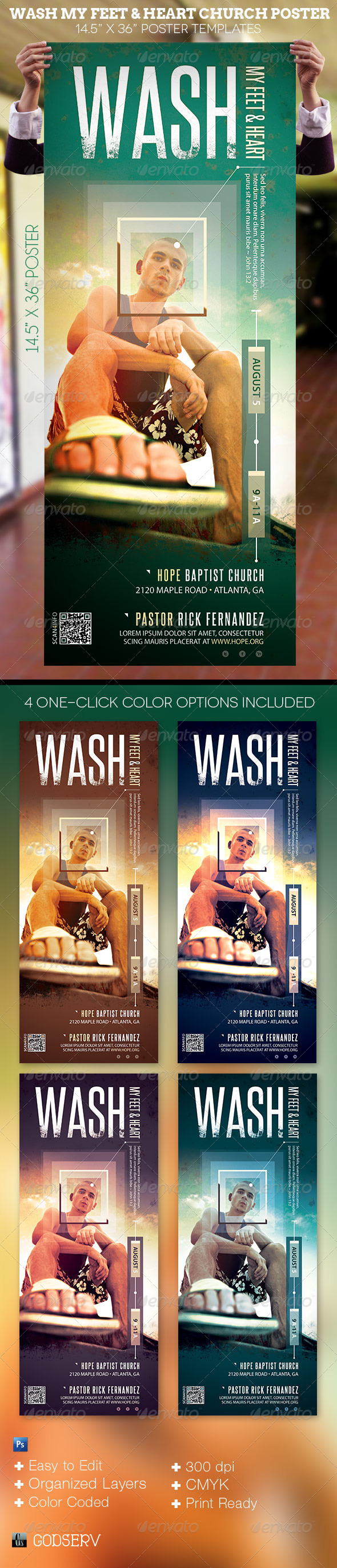 Wash My Feet and Heart Church Poster Template - Signage Print Templates