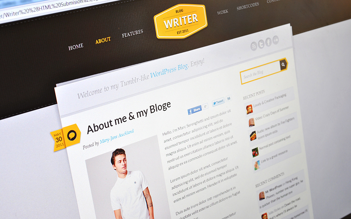 Writer - Blogging HTML Theme