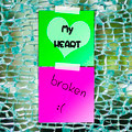 Broken heart text on sticky paper with broken glass background - PhotoDune Item for Sale