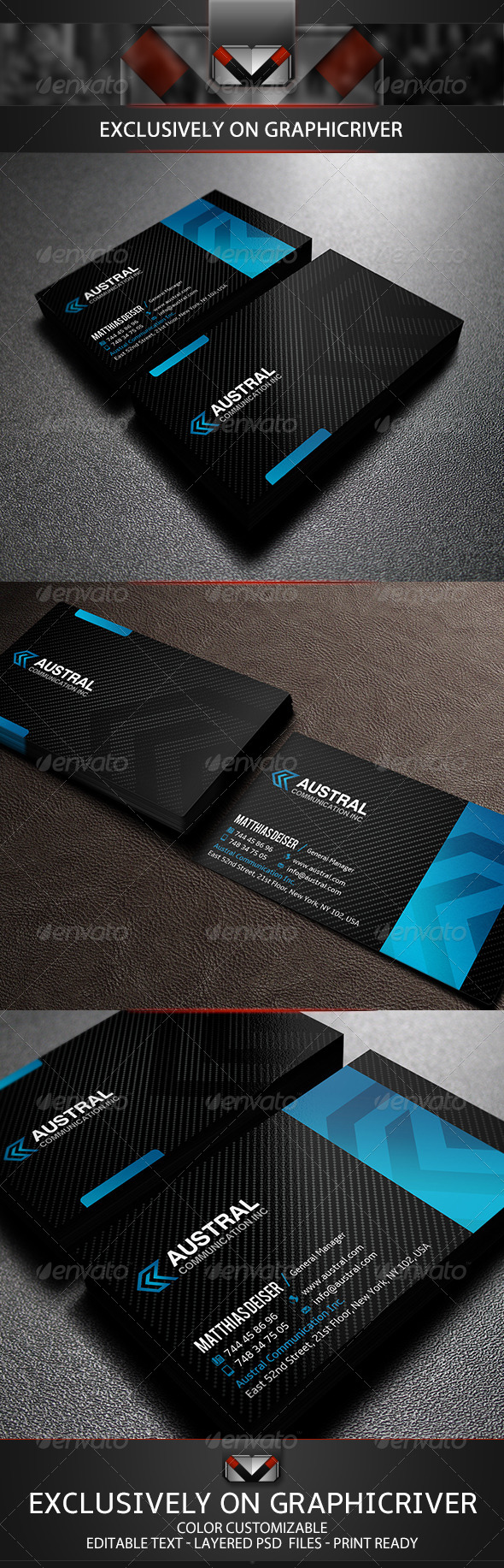 GraphicRiver Modern Carbon Business Card 5715172