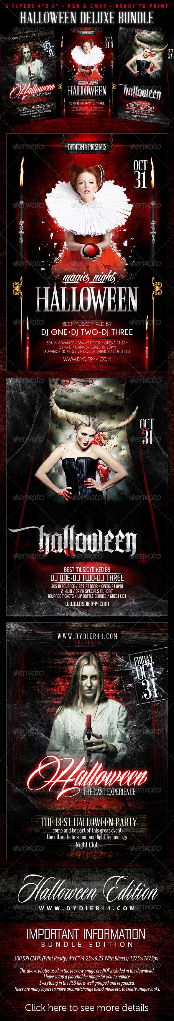 GraphicRiver Halloween Deluxe Bundle 4x6 Flyer Template 5715670