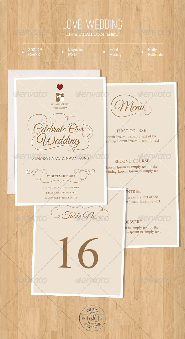 GraphicRiver Love Wedding Invitation Set 5716188