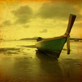 Retro beach with long Tail boat - PhotoDune Item for Sale