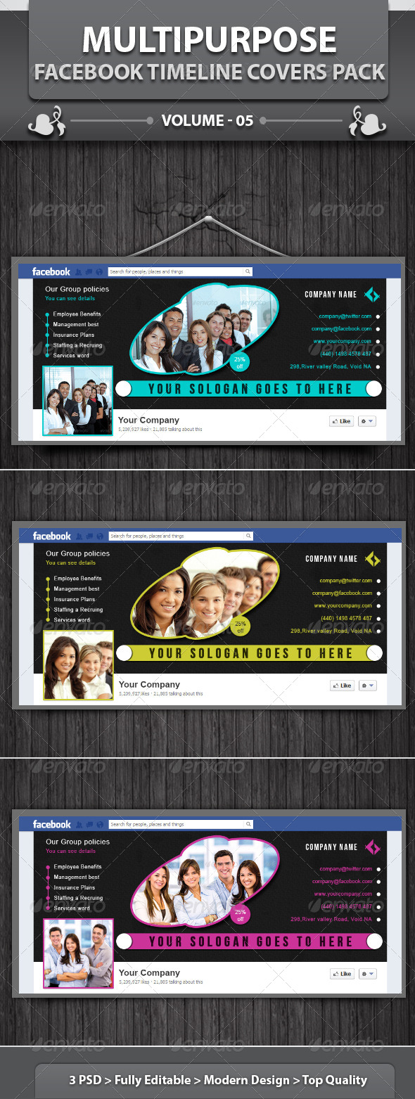 GraphicRiver Multipurpose Facebook Timeline Covers Pack v5 5719246