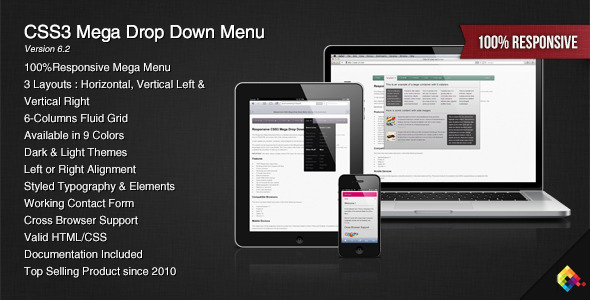 CSS3 Mega Drop Down Menu - CodeCanyon Item for Sale
