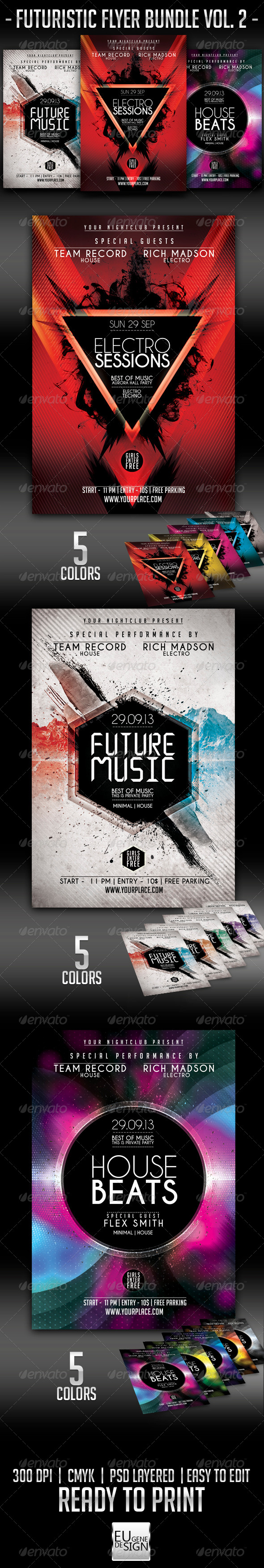 Futuristic Flyer Bundle Vol. 2 - Clubs & Parties Events