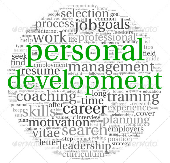 Personal development and career concept in word tag cloud on white - Stock Photo - Images