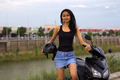 gorgeous asian girl with motorcycle - PhotoDune Item for Sale