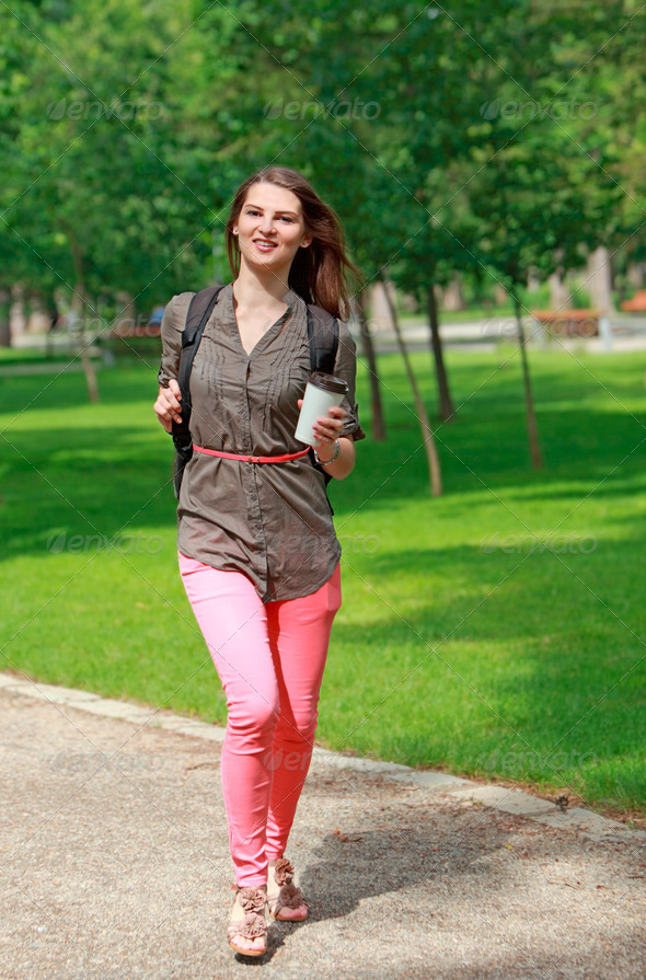 Young Woman Running in a Park - Stock Photo - Images