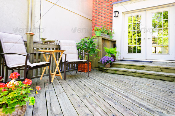 Wooden deck at home - Stock Photo - Images
