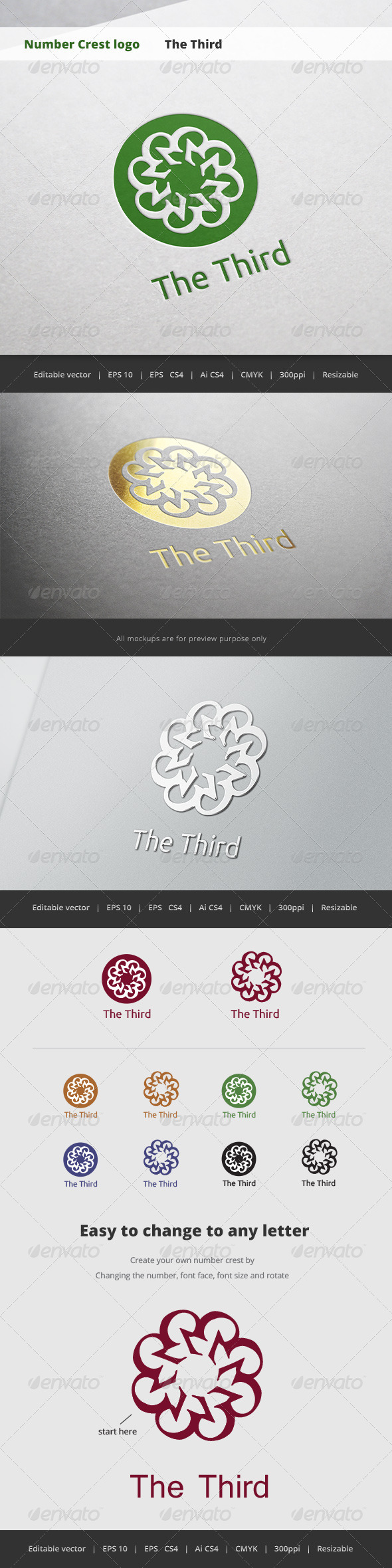 GraphicRiver The Third Number Crest Logo 5718677